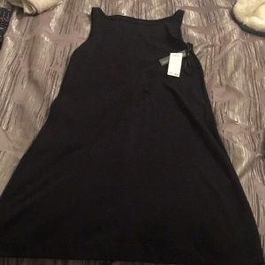Simple black cotton tank dress